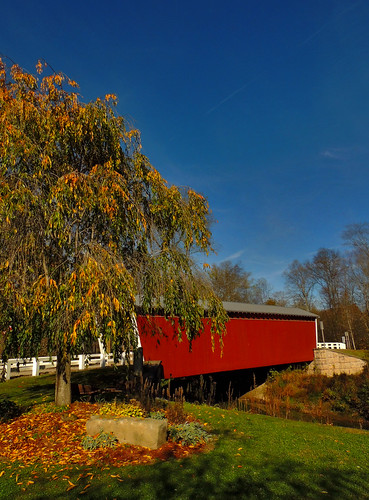 water creek stream thomasford covered bridge outside transportation scenic scenery landscapes georgeneat patriotportraits neatroadtrips indiana county pa pennsylvania