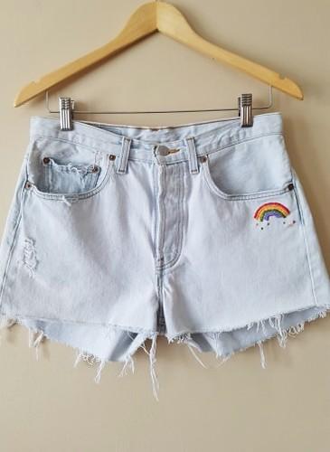 "Vintage Levi's/Hand Embroidered/Hippie Boho/Rainbow/Women's Distressed Levi's Denim Shorts 30"" Waist | by shopthegasstation"