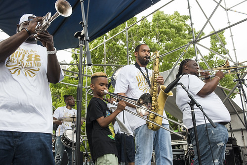 Hot 8 Brass Band play French Quarter Fest day 3 on April 13, 2019. Photo by Ryan Hodgson-Rigsbee RHRphoto.com