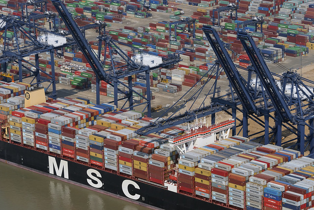 MSC container ship in the Port of Felixstowe - Suffolk aerial image