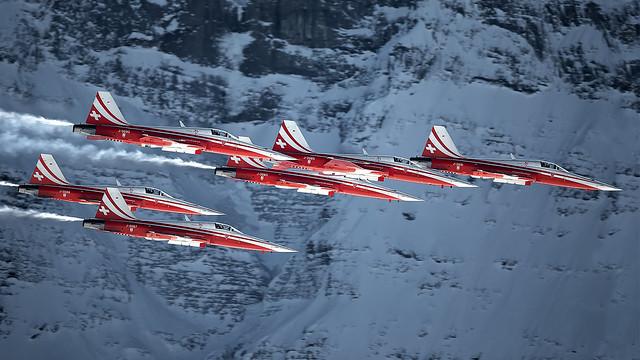 Patrouille Suisse at the Lauberhorn rennen Ski Race 2019