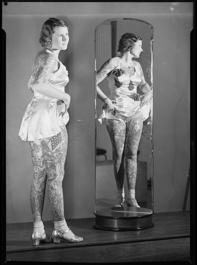 Tattooed lady Betty Broadbent, 4 April 1938