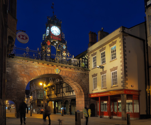The Eastgate, Chester, in the blue