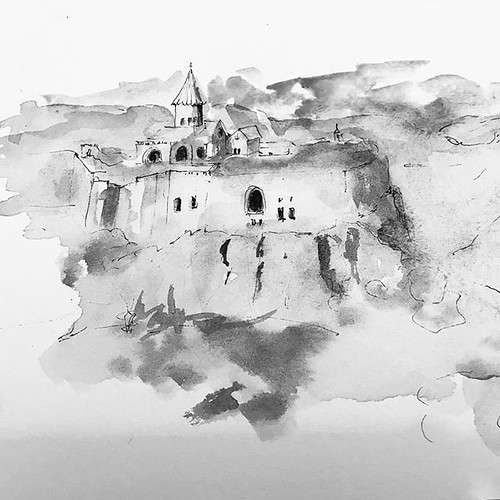 Monastery in Armenia . #ink #art #inkpainting #inkdrawing #art #meditation #tinta #meditacion #painting #drawing #zen #artist #artwork #arte #artjournal #artista #lineart #sketch #sketchbook #sketches #sketching #sketchoftheday #inktobermexico #inkillustr | by Alma Ayon