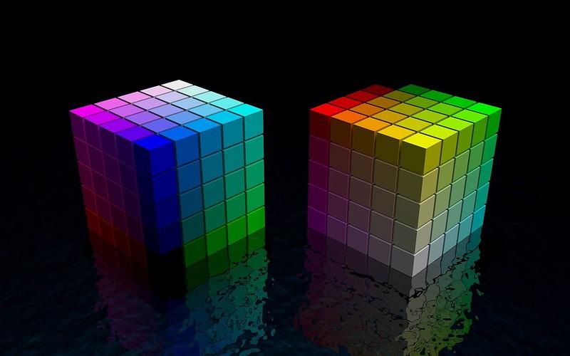 Обои кубик, куб, разноцветный, яркий, черный, пространство картинки на рабочий стол, фото скачать бесплатно