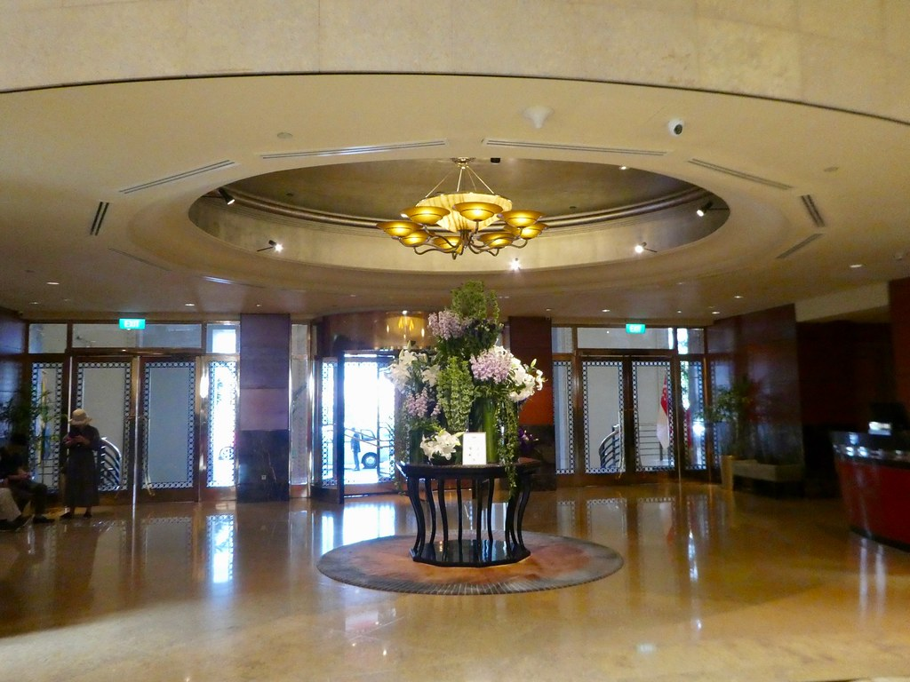 The entrance lobby of the Fullerton Hotel, Singapore