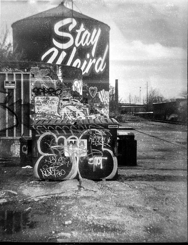 abandoned industrial yard,, urban decay, railroad district, Asheville, Ferrania Tanit, Rera Pan 400 (127 film), Ilford Ilfosol 3 developer, 4.1.19