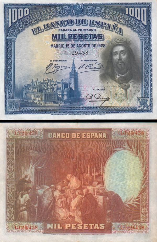 1000 Pesetas Španielsko 1928, P78a