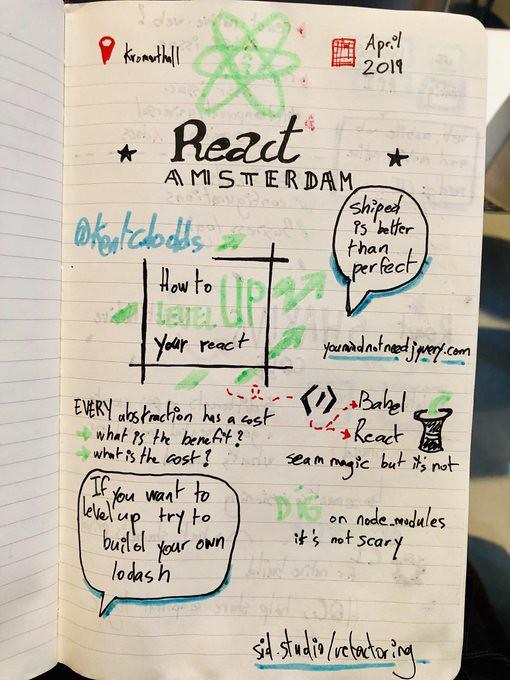 Sketchnote React Amsterdam devenir un meilleur developpeur