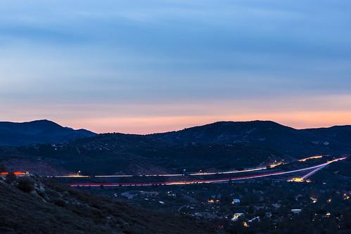 freeway highway longexposure twilight sunset clouds overcast road evening sandiego mountlaguna pinevalley