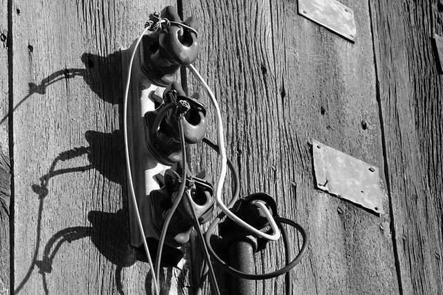 Ancient electrical fittings on derelict barn - Oak Ridges Trail, Township of King, Ontario..
