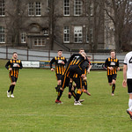 Huntly goalscorer Kai Ross is mobbed by his team mates after scoring