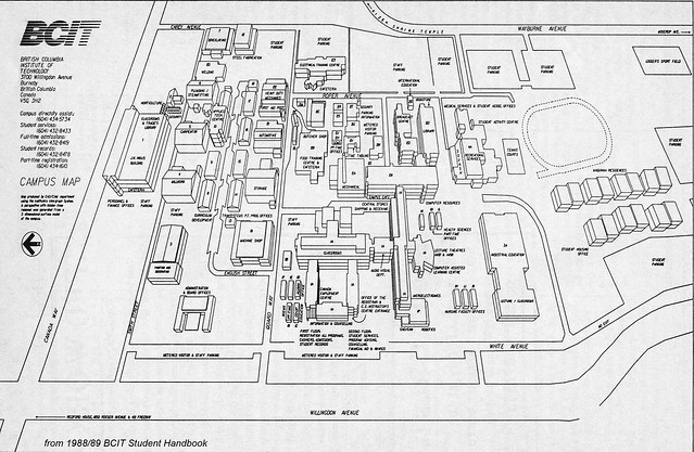 Burnaby Campus map from 1988.