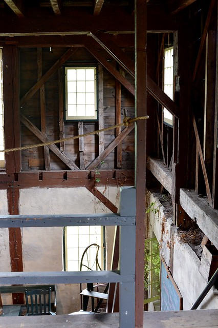 Looking across to opposite wall from opening to the stairway , from upper level across to the other side of upper level of the Port Hope Mill , seen at doors open 2014 , Martin's photograph , Port Hope , Ontario , Canada , June 8. 2014