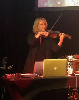 Mark Isham (@MarkIsham) on trumpet, Vinnie Colaiuta (@vinniecolaiuta) on drums, and Laura Escudé (@theLauraEscude) performing at Synthplex 2019. Amazing performance! | by composerjk