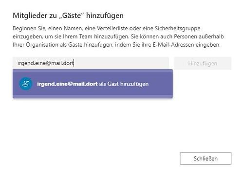 Microsoft Teams Gastzugang (2): Emailadresse eingeben | by Frank Hamm
