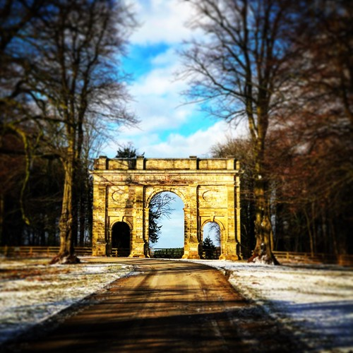 outdoors aberford triumphalarch squareformat square parlington iphone instagram architecture march spring snow sunrise cameraphone woods neige outside landscape colour color nature light morning clouds trees park leeds yorkshire uk tiltshift blur arch monument westyorkshire historic