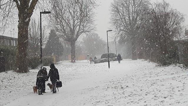 Snow scene, New River Path, Wood Green, London