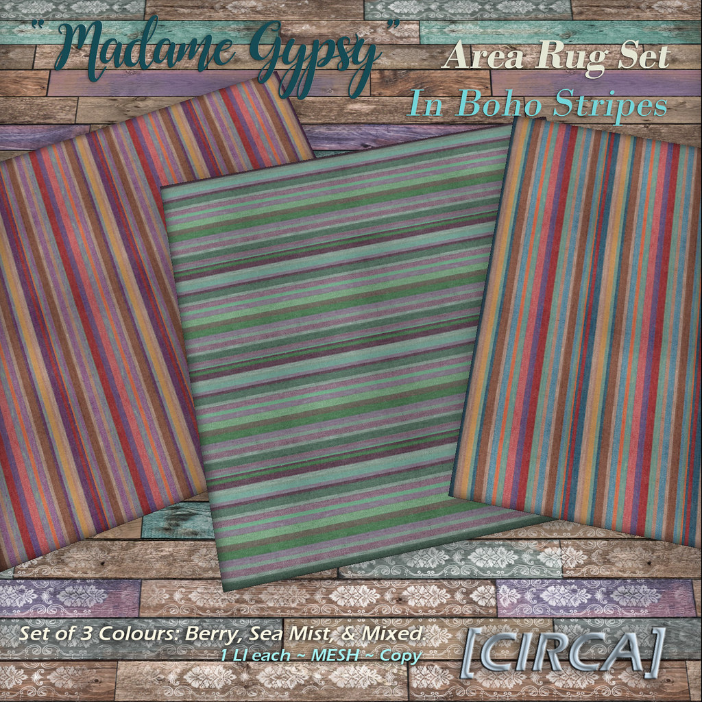 "@ The Boardwalk | [CIRCA] – ""Madame Gypsy"" – Area Rug Set – Boho Stripes"