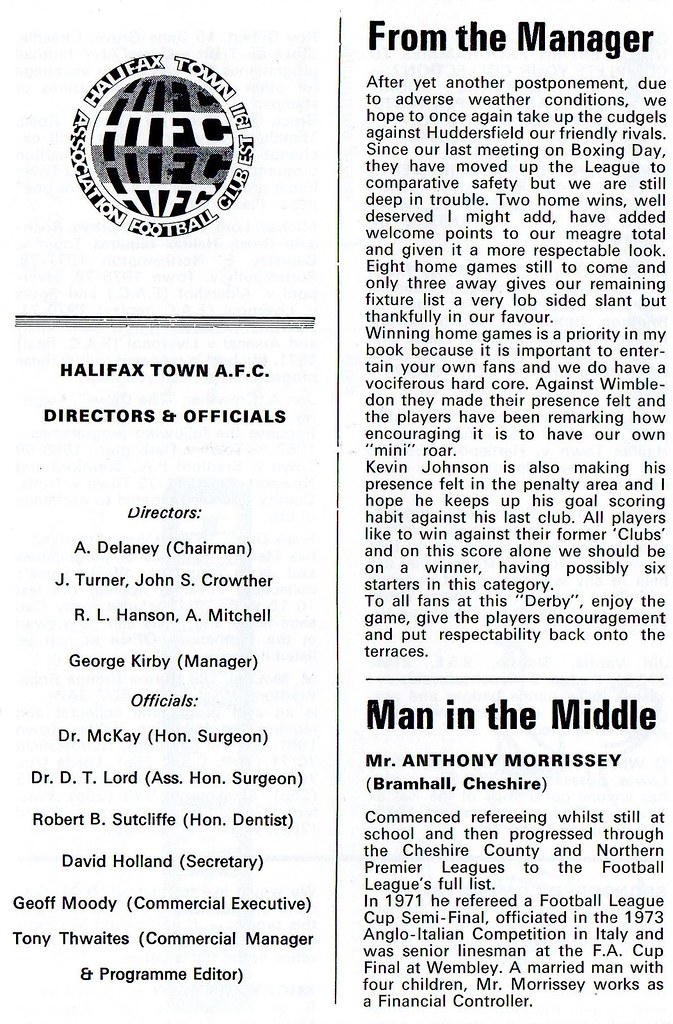 (Programme) 14-04-1979 Halifax Town 2-3 Huddersfield Town 3