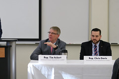 Reps. Ackert and Davis participate in a panel discussion with business owners at the Tolland County Chamber of Commerce Legislative Breakfast