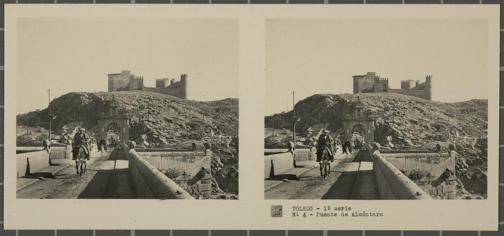 Puente de Alcántara y Castillo de San Servando. Colección de fotografía estereoscópica Rellev © Ajuntament de Girona / Col·lecció Museu del Cinema - Tomàs Mallol