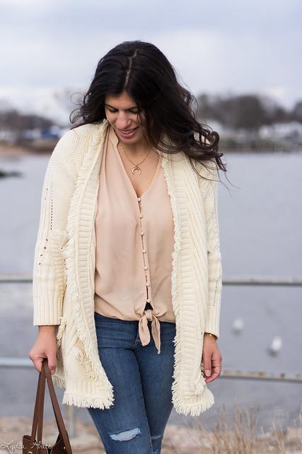 fringe cardigan, silk button down top, blush suede booties, bucket bag-1.jpg
