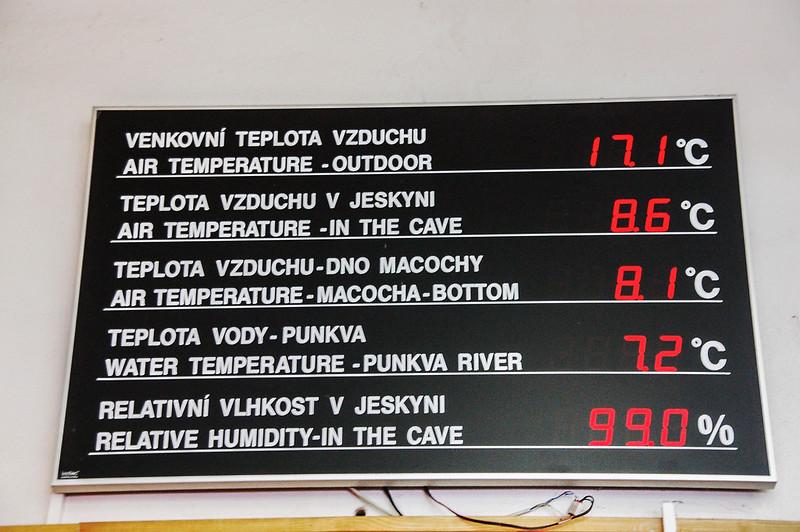 Punkva cave溫度顯示表