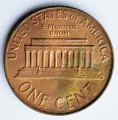 Fake double-struck obverse 1964 Lincoln Cent reverse