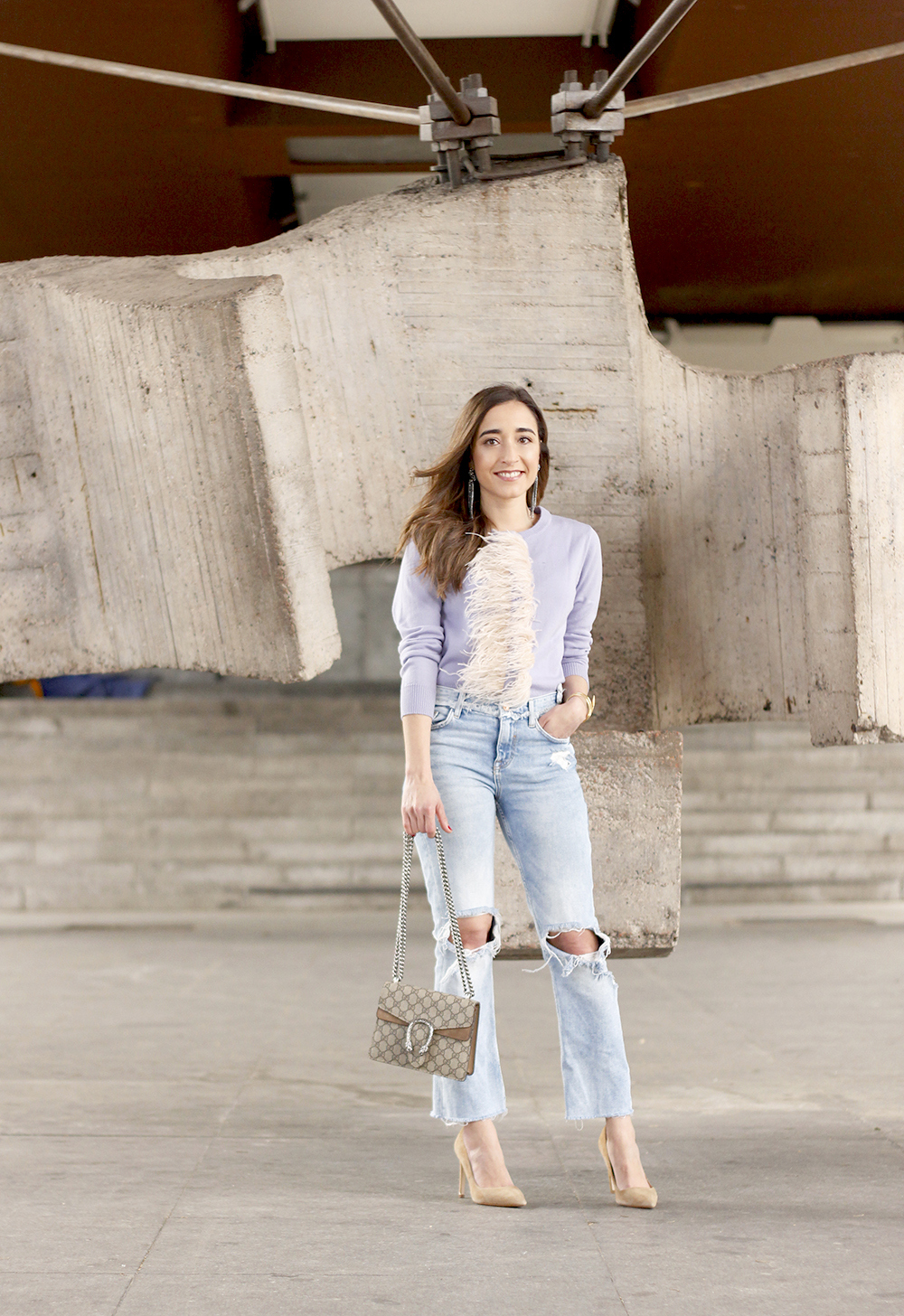 lavender sweater ripped jeans gucci bag nude heels casual street style casual outfit 20191
