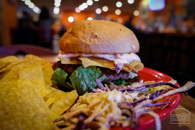 Crab Ragoon Burger w/ Spicy Pickles, and Sweet Chili Sauce - Black Bear Burritos