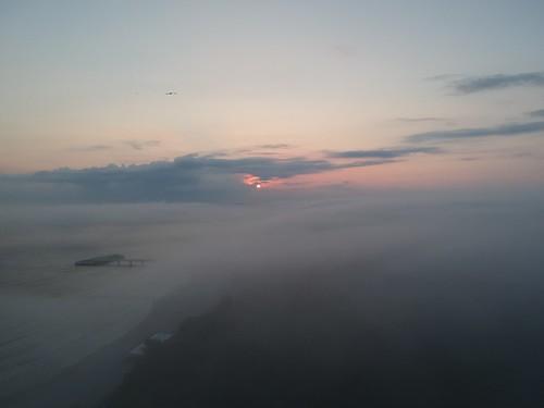 kołobrzeg morzebałtyckie balticsea sunrise water fog sea drone