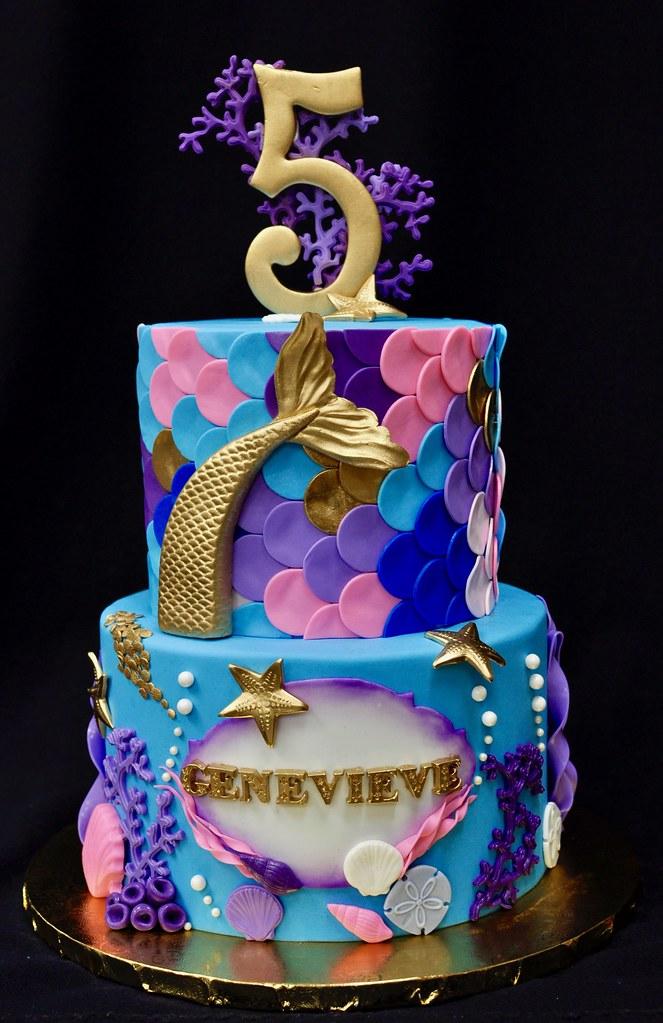Excellent Mermaid Birthday Cake Jenny Wenny Flickr Personalised Birthday Cards Veneteletsinfo