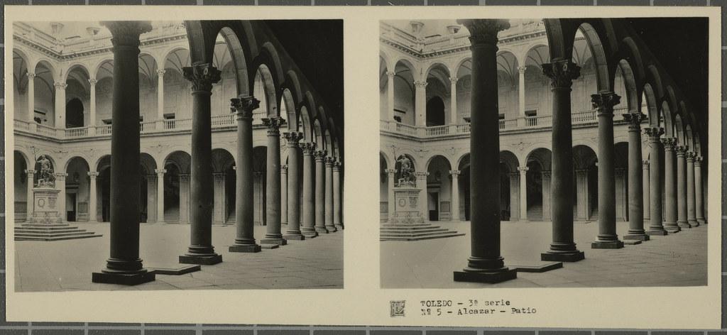 Patio del Alcázar. Colección de fotografía estereoscópica Rellev © Ajuntament de Girona / Col·lecció Museu del Cinema - Tomàs Mallol