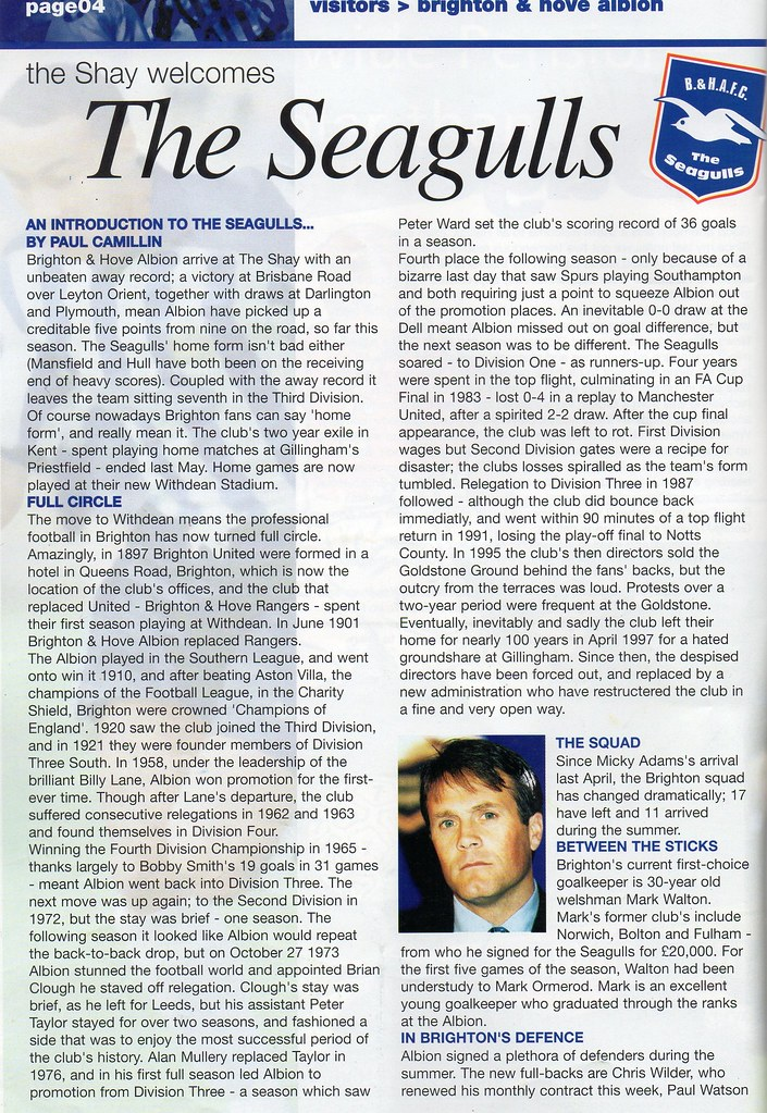 (Programme) 11-09-1999 Halifax Town 2-1 Brighton & Hove Albion 3