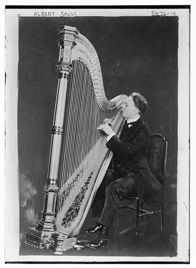 Albert Salvi [with harp] (LOC)