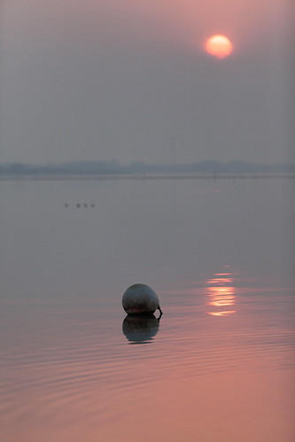 yixing wuxi jiangsu china prc sunrise dawn softlight pink orange sun bouy floating smog
