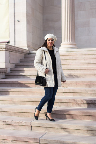 black cable knit sweater, jeans, white teddy coat, kate spade bag-3.jpg | by LyddieGal