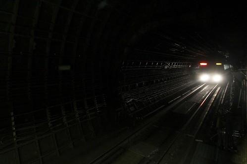 MTR train approaches Sheung Wan Station