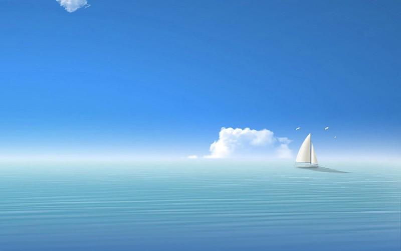 Обои голубой, море, корабль, небо картинки на рабочий стол, фото скачать бесплатно