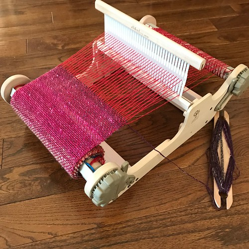 Last Sunday (March 31st) after our Weaving Workshop, I warped one of the Ashford Sampleit Looms! Look what I made using Noro Silk Garden for my weft