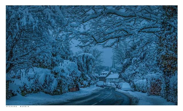 The Blue Hour. Eynsford High Street Under Snow, 2010.