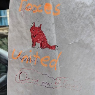 Uncertain as to whether this message was left by the foxes themselves. Stuck to a lamp post, Westbourne Park area. #LDN | by jemimahknight