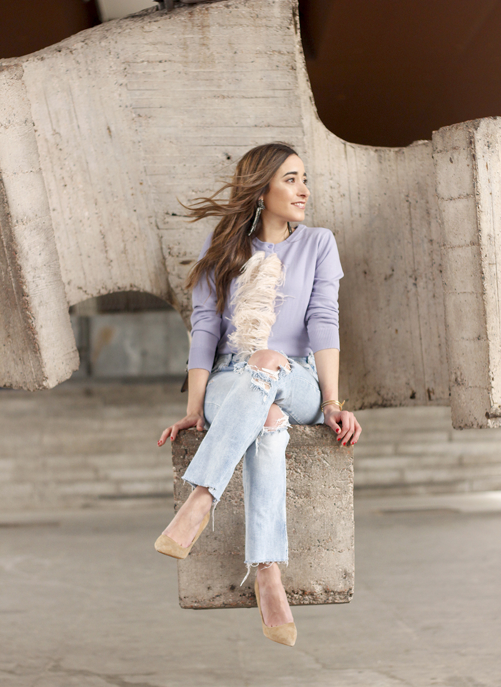 lavender sweater ripped jeans gucci bag nude heels casual street style casual outfit 201912