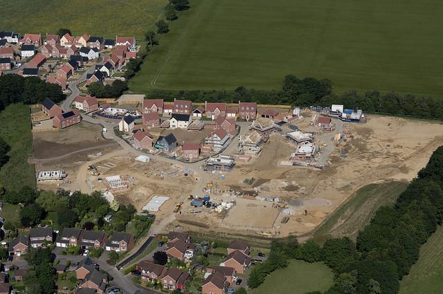 Watermill Meadows development in Stoke Holy Cross - Norfolk UK aerial