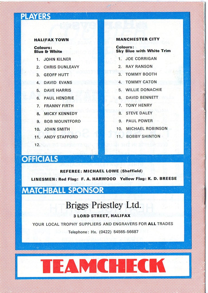 (Programme) 05-01-1980 Halifax Town 1-0 Manchester City (FAC) 2
