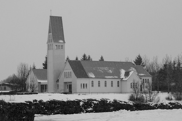 Church at Selfoss in Black & White, Iceland