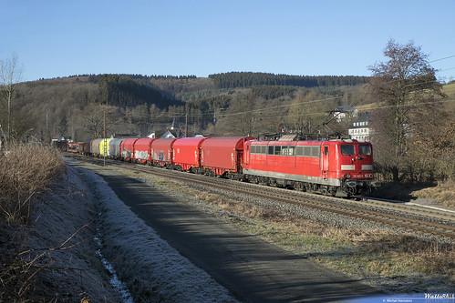 151 061 DB Cargo (Schiebelok) 51264 . Benolpe, Kirchhundem . 16.02.19.