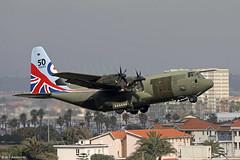 Royal Air Force Lockheed C-130J Super Hercules C5 ZH883 '50th Anniversary Livery' departing RAF Gibraltar/LXGB
