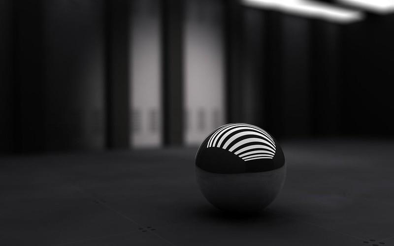 Обои черный, шар, полосы, белый картинки на рабочий стол, фото скачать бесплатно